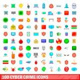 100 ícones ajustados, estilo do crime do cyber dos desenhos animados Fotografia de Stock