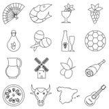 Ícones ajustados, estilo do curso da Espanha do esboço ilustração royalty free