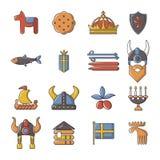 Ícones ajustados, estilo do curso da Suécia dos desenhos animados Imagens de Stock Royalty Free