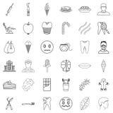 Ícones ajustados, estilo do dentista do esboço Imagens de Stock