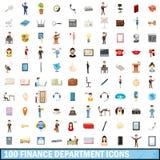 100 ícones ajustados, estilo do departamento financeiro dos desenhos animados Imagens de Stock