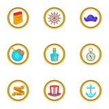 Ícones ajustados, estilo do descobridor dos desenhos animados Foto de Stock