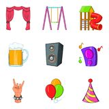 Ícones ajustados, estilo do desempenho musical dos desenhos animados Imagens de Stock Royalty Free