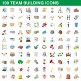 100 ícones ajustados, estilo do desenvolvimento de equipas dos desenhos animados ilustração stock