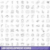 100 ícones ajustados, estilo do desenvolvimento do esboço Imagens de Stock Royalty Free