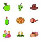 Ícones ajustados, estilo do dia de novembro dos desenhos animados Fotos de Stock Royalty Free