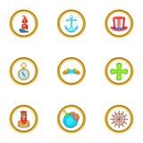 Ícones ajustados, estilo do dia do marinheiro dos desenhos animados Fotografia de Stock Royalty Free