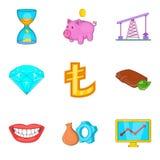 Ícones ajustados, estilo do dinheiro barato dos desenhos animados Foto de Stock