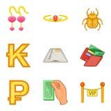 Ícones ajustados, estilo do dinheiro fácil dos desenhos animados Foto de Stock