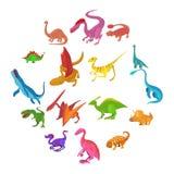 Ícones ajustados, estilo do dinossauro dos desenhos animados ilustração stock