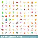 100 ícones ajustados, estilo do divertimento dos desenhos animados ilustração royalty free