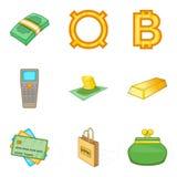 Ícones ajustados, estilo do empréstimo de dinheiro dos desenhos animados Fotografia de Stock Royalty Free