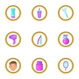 Ícones ajustados, estilo do equipamento da barbearia dos desenhos animados Imagens de Stock Royalty Free