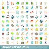 100 ícones ajustados, estilo do espaço de trabalho dos desenhos animados Imagem de Stock