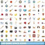 100 ícones ajustados, estilo do espaço do jogo dos desenhos animados Fotos de Stock