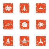 Ícones ajustados, estilo do espaço do grunge ilustração royalty free
