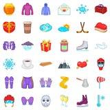 Ícones ajustados, estilo do esporte de inverno dos desenhos animados Imagens de Stock Royalty Free