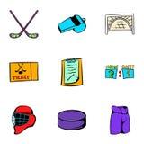Ícones ajustados, estilo do esporte do hóquei dos desenhos animados Fotografia de Stock Royalty Free