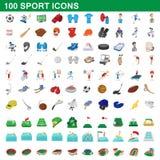 100 ícones ajustados, estilo do esporte dos desenhos animados Imagem de Stock Royalty Free