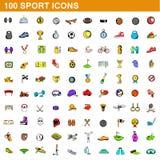100 ícones ajustados, estilo do esporte dos desenhos animados Imagem de Stock