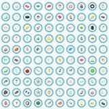 100 ícones ajustados, estilo do esporte dos desenhos animados ilustração do vetor