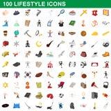 100 ícones ajustados, estilo do estilo de vida dos desenhos animados Fotos de Stock Royalty Free