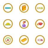Ícones ajustados, estilo do estudo da língua dos desenhos animados Fotos de Stock Royalty Free