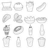Ícones ajustados, estilo do fast food do esboço ilustração stock