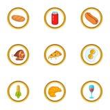 Ícones ajustados, estilo do fast food dos desenhos animados Fotos de Stock
