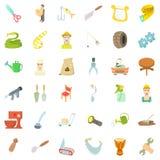 Ícones ajustados, estilo do fazendeiro dos desenhos animados Fotografia de Stock