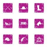 Ícones ajustados, estilo do feriado da feitiçaria do grunge ilustração stock