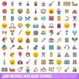 100 ícones ajustados, estilo do feriado da música dos desenhos animados ilustração do vetor