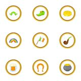 Ícones ajustados, estilo do feriado de St Patrick dos desenhos animados Fotografia de Stock Royalty Free