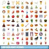 100 ícones ajustados, estilo do feriado dos desenhos animados Fotos de Stock Royalty Free