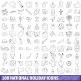 100 ícones ajustados, estilo do feriado nacional do esboço Foto de Stock Royalty Free