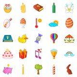 Ícones ajustados, estilo do feriado religioso dos desenhos animados Imagens de Stock Royalty Free