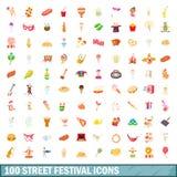 100 ícones ajustados, estilo do festival da rua dos desenhos animados Imagens de Stock