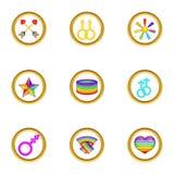 Ícones ajustados, estilo do festival de Lgbt dos desenhos animados Imagens de Stock