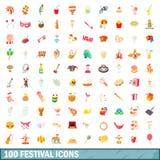 100 ícones ajustados, estilo do festival dos desenhos animados Fotografia de Stock Royalty Free