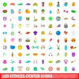 100 ícones ajustados, estilo do fitness center dos desenhos animados Fotos de Stock Royalty Free