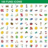100 ícones ajustados, estilo do fundo dos desenhos animados ilustração royalty free