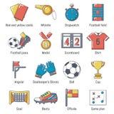 Ícones ajustados, estilo do futebol do futebol dos desenhos animados ilustração royalty free