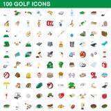 100 ícones ajustados, estilo do golfe dos desenhos animados ilustração do vetor