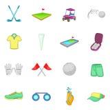 Ícones ajustados, estilo do golfe dos desenhos animados Foto de Stock