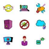 Ícones ajustados, estilo do hacker dos desenhos animados ilustração do vetor