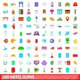 100 ícones ajustados, estilo do hotel dos desenhos animados Foto de Stock Royalty Free