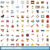 100 ícones ajustados, estilo do hotel dos desenhos animados Foto de Stock