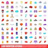 100 ícones ajustados, estilo do inverno dos desenhos animados Foto de Stock Royalty Free