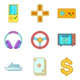 Ícones ajustados, estilo do jackpot do casino dos desenhos animados Fotografia de Stock Royalty Free