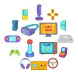 Ícones ajustados, estilo do jogo de vídeo dos desenhos animados Fotos de Stock Royalty Free